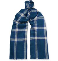 Anderson And Sheppard Checked Cashmere Scarf Blue