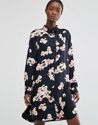 B.Young Floral Print Shirt Dress Black