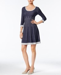 Nine West Fit And Flare Sweater Dress Denim Blue
