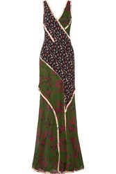 Jason Wu Paneled Printed Silk Georgette Gown Green