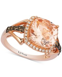 Le Vian Chocolatier Morganite 2 9 10 Ct. T.W. And Diamond 1 3 Ct. T.W. Ring In 14K Rose Gold