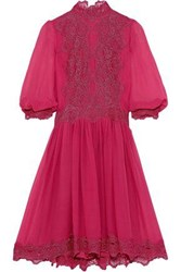 Costarellos Woman Lace Trimmed Gathered Silk Chiffon Dress Coral