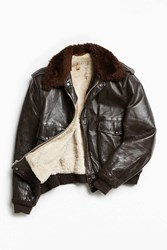 Urban Outfitters Vintage Faux Fur Lined Leather Jacket Brown
