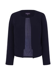 Hotsquash Collarless Jacket In Clever Fabric Navy