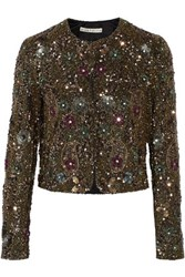 Alice Olivia Kidman Embellished Silk Jacket Gold