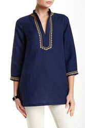 Julie Brown Blas Tunic Blouse Blue
