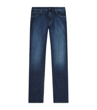 Canali Washed Stretch Jeans Male Blue