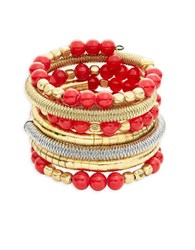 Catherine Stein Beaded Coil Bracelet Red
