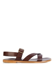 Faconnable Asymmetric Strap Leather Sandals