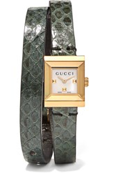 Gucci Elaphe And Gold Tone Watch Forest Green