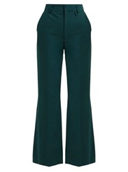 Alexachung Flared Cotton Twill Trousers Green
