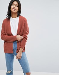 Asos Boyfriend Cardigan In Chunky Rib Pink Purple