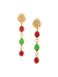 Chanel Vintage Gripoiz Mademoiselle Clip On Dangle Earrings Multicolour