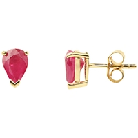 A B Davis 9Ct Gold Ruby Pear Shape Earrings Red