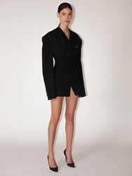 Balmain Viscose Blend Crepe Jacket Dress Black