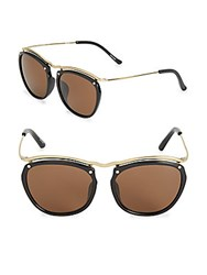 3.1 Phillip Lim Polished Brow Line Pilot Sunglasses Black