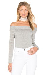 1.State Off Shoulder Stripe Tee Gray