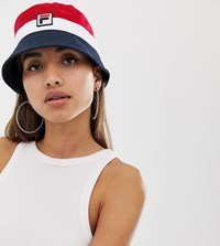 Fila Basil Logo Bucket Hat In Red Navy And White Multi