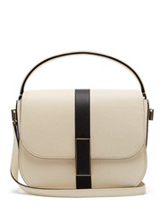 Valextra Iside Grained Leather Cross Body Bag White Black