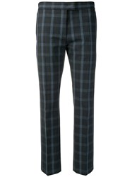 Paul Smith Ps By Cropped Check Trousers Blue