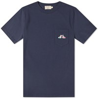 Maison Kitsune Resting Fox Patch Pocket Tee Blue