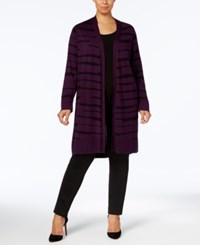 Alfani Plus Size Printed Duster Cardigan Created For Macy's Plum Broken Bars
