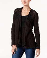 Style And Co Open Front Lace Yoke Cardigan Only At Macy's Deep Black