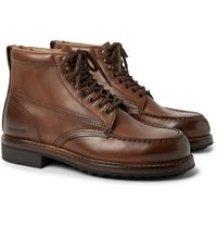 Tom Ford Cromwell Burnished Leather Hiking Boots Brown