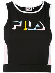 Fila Cropped Logo Top Women Cotton Spandex Elastane M Black