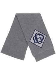 Dolce And Gabbana Embroidered Logo Patch Scarf Grey
