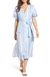 Lush Button Down Midi Shirtdress Light Blue Rust