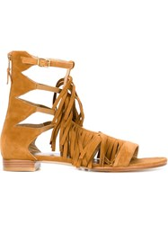 Stuart Weitzman 'Srladrags' Fringed Strappy Sandals Nude And Neutrals