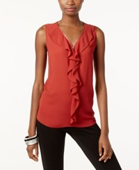 Inc International Concepts Ruffled Tank Top Only At Macy's Burnt Pepper
