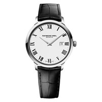 Raymond Weil 5488 Stc 00300 Men's Toccata Leather Strap Watch Black White