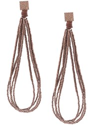 Brunello Cucinelli Hammered Bead Earrings Brown