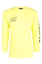 Topshop East West Long Sleeve Arm Graphic Fluro Yellow
