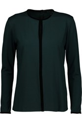 Raoul Velvet Trimmed Stretch Jersey Top Dark Green
