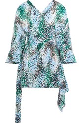 Marni Draped Printed Silk Crepe De Chine Wrap Top Blue