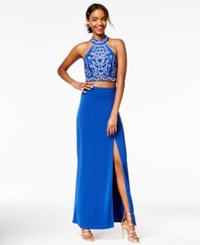 Speechless Juniors' 2 Pc. Sequined Gown Royal