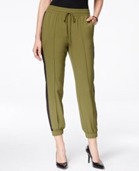 Ny Collection Petite Faux Suede Panel Joggers Only At Macy's Moss Mixsaddle