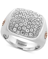 Effy Men's White Sapphire Cluster Ring 2 Ct. T.W. In Sterling Silver And 18K Rose Gold