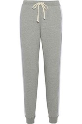 Clu Open Knit Paneled French Cotton Terry Track Pants Gray