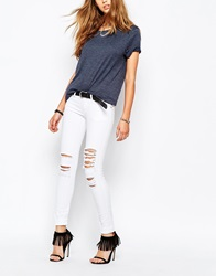 Tripp Nyc Low Rise Skinny Jeans With Rips And Distressing White