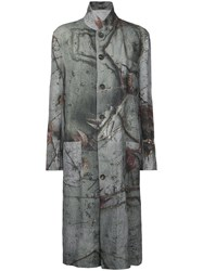 Forme D'expression Reversible Printed Coat Women Linen Flax S Grey