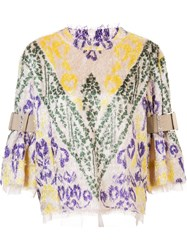 Sacai Textured Calligraphy Print Top Nude And Neutrals