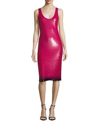 Ralph Lauren Sequined Ombre Hem Sleeveless Dress Hot Pink