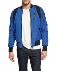 Mcm X Cr Collection Quilted Bomber Jacket Blue