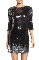 Bb Dakota Women's Elise Sequin Body Con Dress Black Silver
