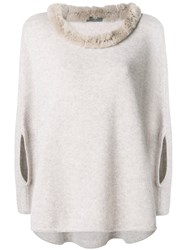 N.Peal Fur Collared Cashmere Poncho Nude And Neutrals