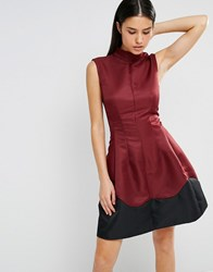 Ax Paris Wave Skater Dress Wine Purple